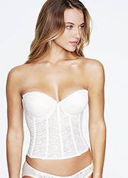 Dominique Hannah Deep Plunge Low Back Padded Push Up Lace Basque Zoom 2