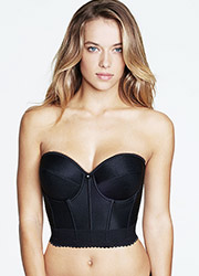 Dominique Noemi Low Plunge Longline Backless Satin Bra Zoom 1
