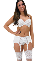 Elaine Edwards White Lace Crossover 6 Strap Suspender Belt