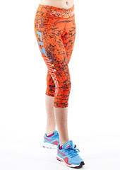 Fit Wise Orange Crackle Capri Fitness Leggings