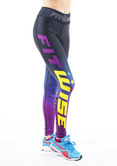 Fit Wise Purple Ombre Full Length Fitness Leggings Zoom 1