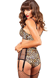 Leg Avenue 2 Piece Animal Print Bra And Matching High Waist 6 Hook Garter Zoom 2