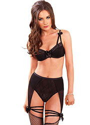 Leg Avenue 2 Piece Satin Trimmed Padded Underwired Bra With Lace Overlay High Waist Garter Panty