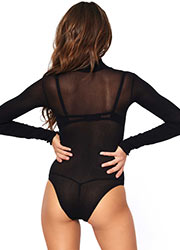 Leg Avenue Opaque High Neck Long Sleeved Bodysuit With Snap Crotch Zoom 2