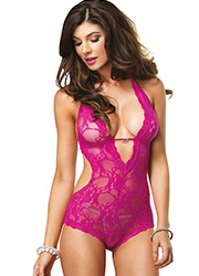 Leg Avenue Stretch Lace Deep V Halter Teddy Zoom 1