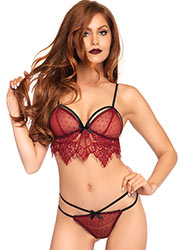 Leg Avenue Swiss Dot Cage Strap Bra With Matching Chantilly Lace Thong