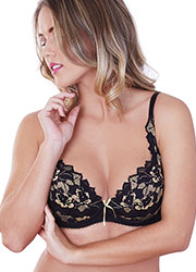 Lepel Fiore Padded Plunge Black Gold Bra Zoom 2