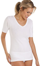 La Marquise Cotton Thermal Short Sleeve Vest