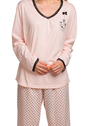 La Marquise Lace Trim Love Hearts Pyjama Set Zoom 2