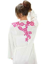 Marjolaine Silk And French Lace Short Robe Zoom 3