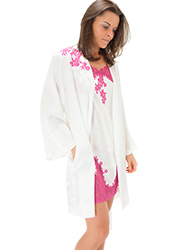 Marjolaine Silk And French Lace Short Robe