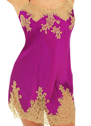 Marjolaine Silk and French Lace Chemise Orchid Zoom 2