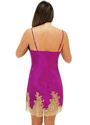 Marjolaine Silk and French Lace Chemise Orchid Zoom 3