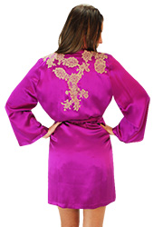 Marjolaine Orchid French Silk Short Robe Zoom 2