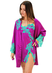 Marjolaine Tentation Silk and French Lace Short Robe Zoom 1