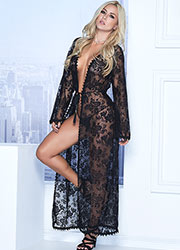 Mapale Long Lace Robe with Matching G-String Zoom 1