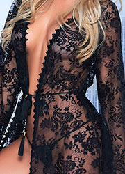 Mapale Long Lace Robe with Matching G-String Zoom 3