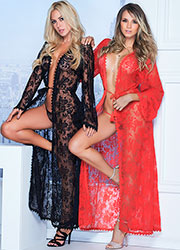 Mapale Long Lace Robe with Matching G-String