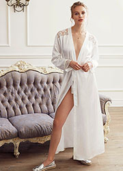 Promise Special Night Long Satin Robe Zoom 1