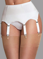 Sassy 6 Strap Plain White Suspender Belt