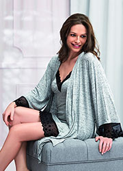 Vanilla Night & Day Grey Snowflake Short Robe Zoom 1